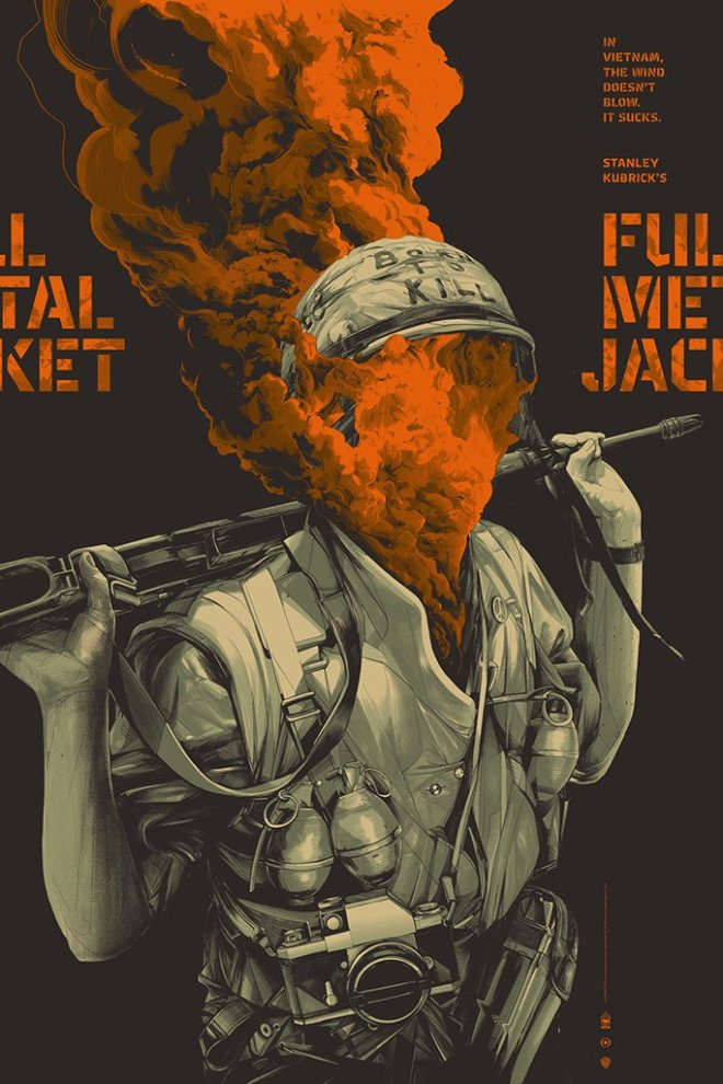 Full Metal Jacket (Variant) Screenprinted Poster By Oliver Barrett
