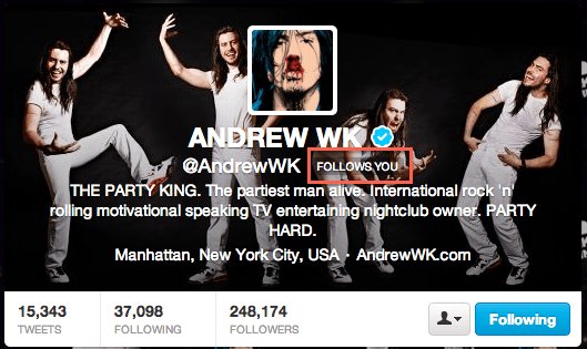 Andrew WK Follows Me!