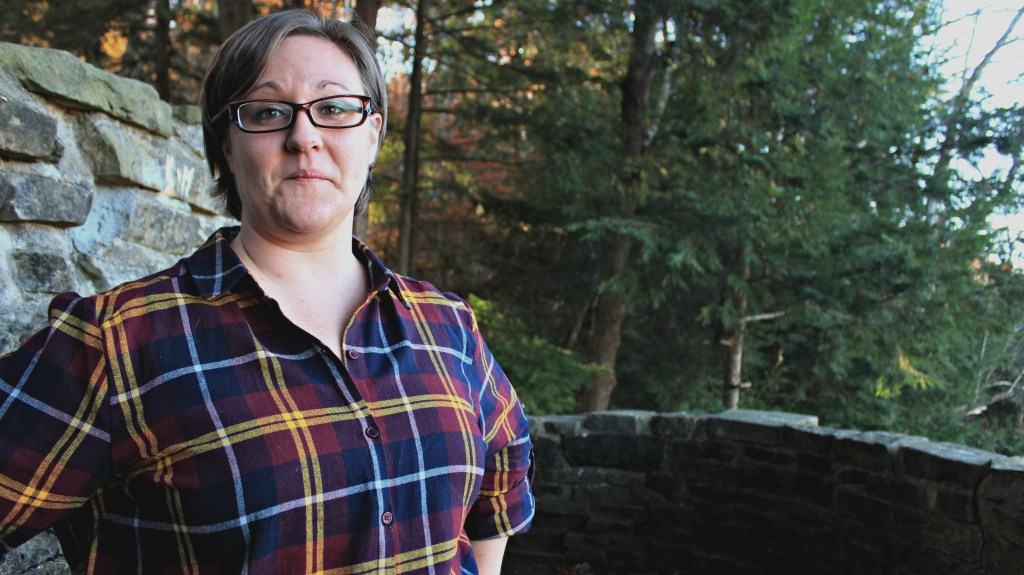 mohican state park, girl in front of trees, trees, forest, plaid, plaid girl, plaid girl in forest,