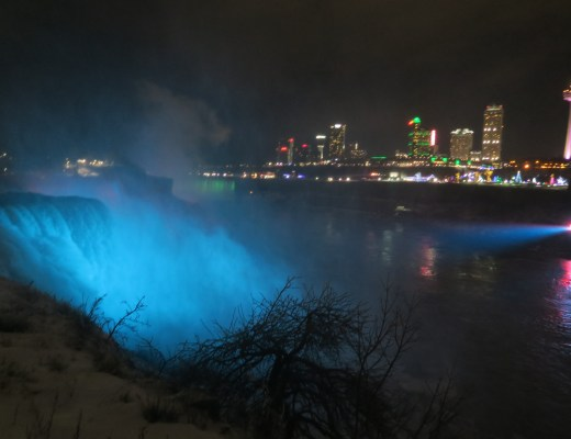niagara falls, niagara falls at night, blue water fall, niagara falls lit up blue, niagara falls at night lit up,