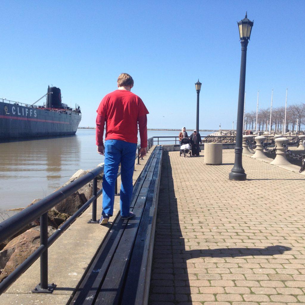 pier, cleveland, man walking on pier, ohio pier,