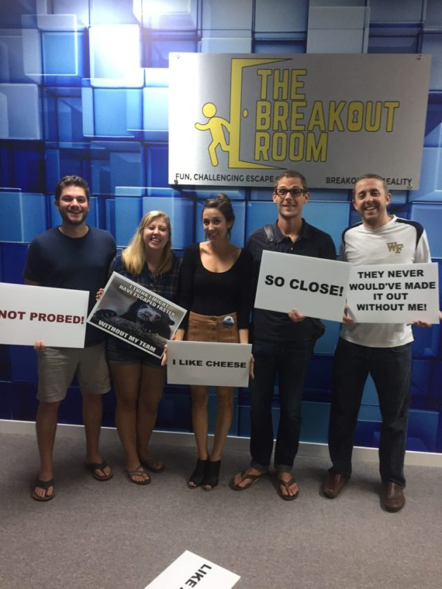 Alien Escape Room Winners, The Breakout Room escape game in Downtown Wilmington NC