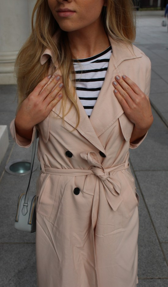H&M pink spring trench coat stripes blog how to style paris
