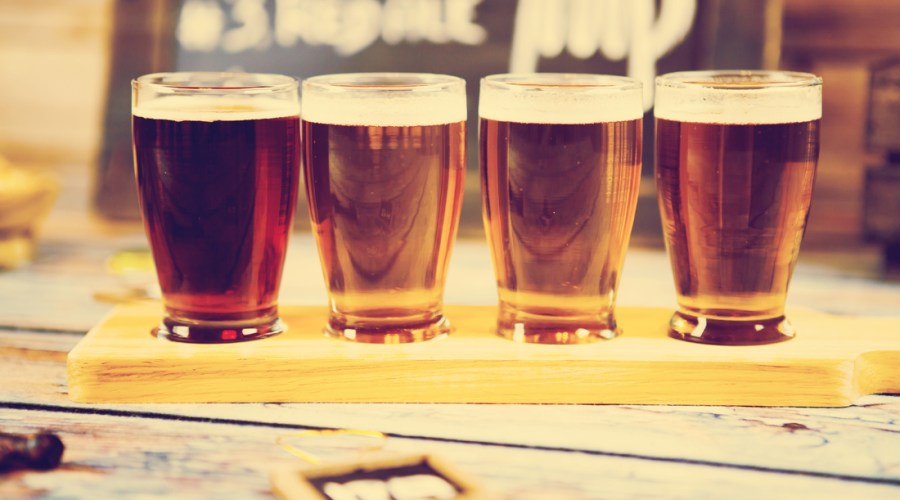 Craft beers in glasses
