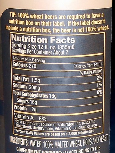 AC Golden 100% Whole Wheat Bock nutritional label