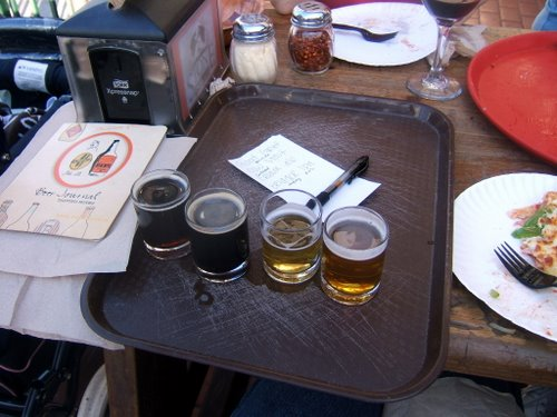 Pizza Port Carlsbad beer sampler tray