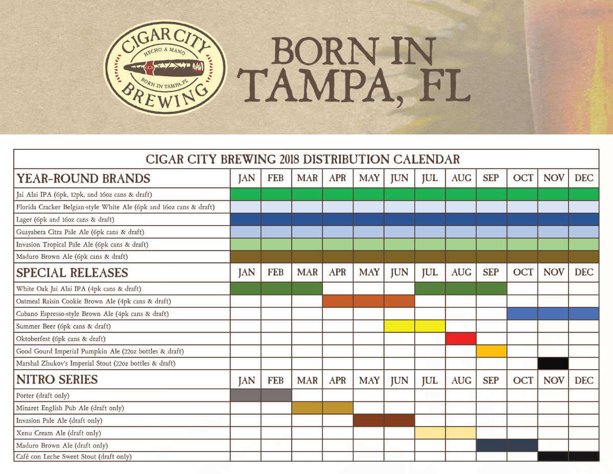 Cigar City Brewing 2018 beer schedule