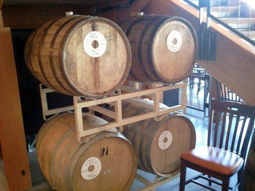Barrels aging at the Deschutes Brewery Bend Pub