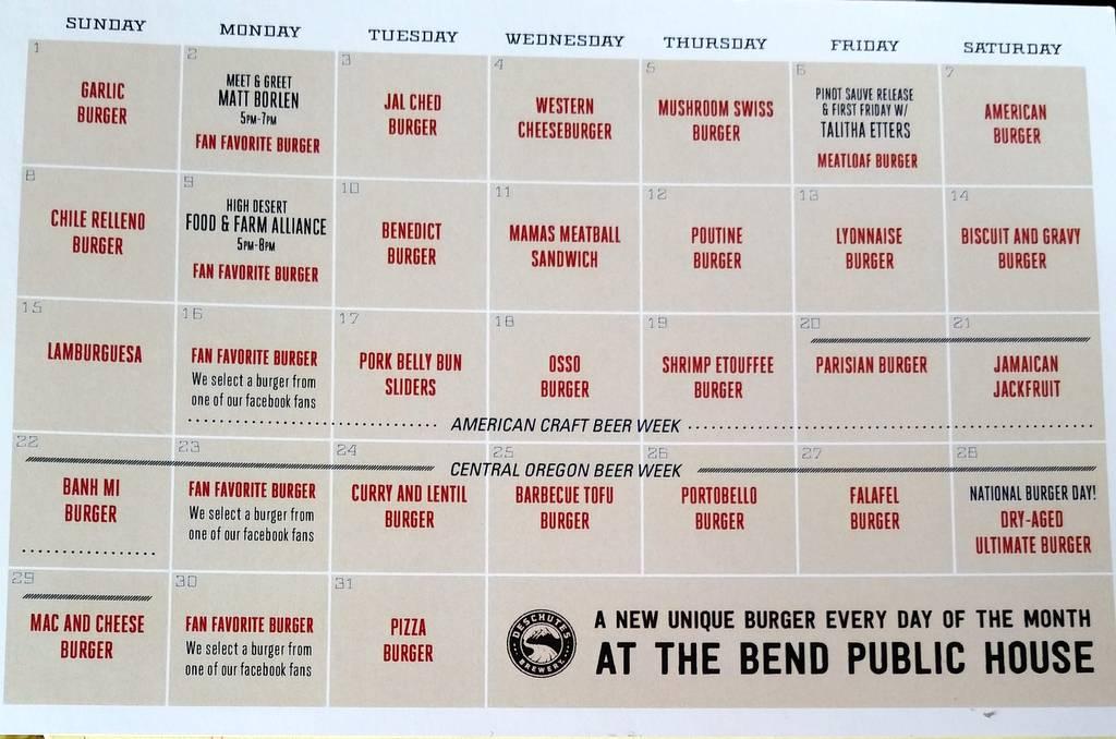 Deschutes Brewery Burger Month calendar