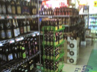 Really crappy cameraphone pic of the beer selection at John's Marketplace