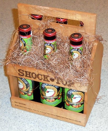 Shock Top wooden six-pack case
