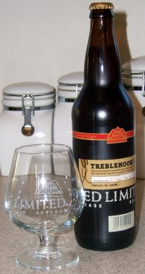 Redhook Treblehook Barleywine and glassware