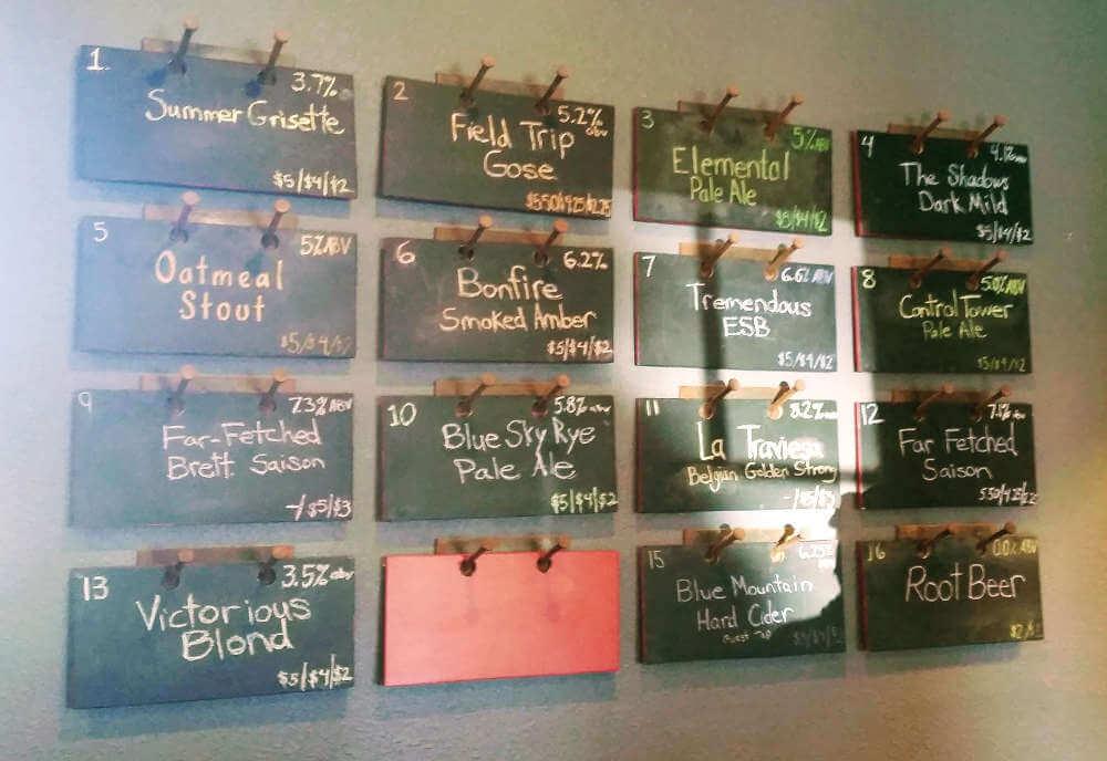 Quirk Brewing beer board