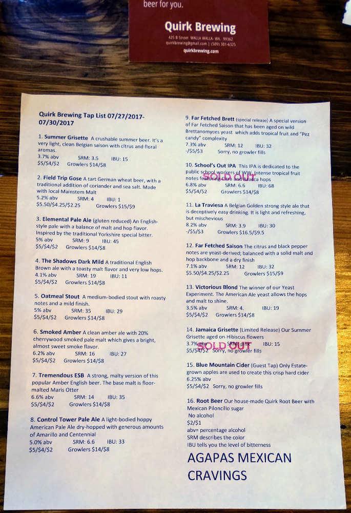 Quirk Brewing beer menu