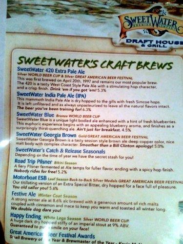 SweetWater Draft House beer menu