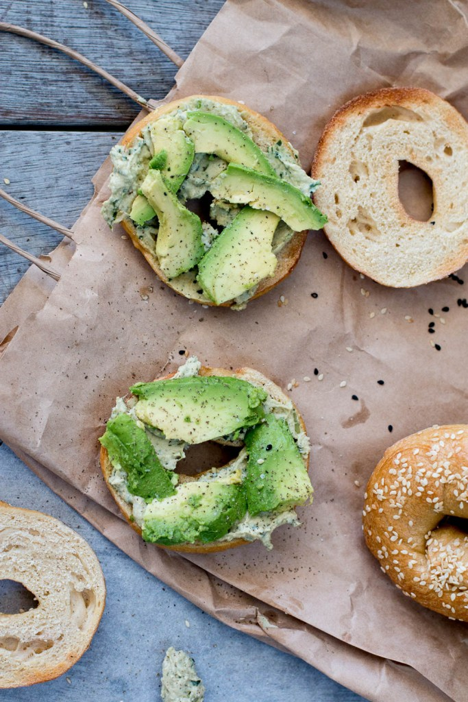 Homemade Bagels with Coriander-Lime Hummus - The Brick Kitchen