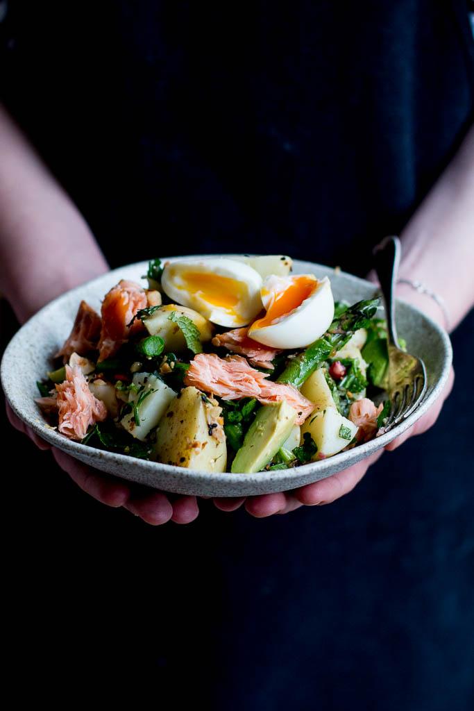 Dukkah Asparagus Amp Hot Smoked Salmon Potato Salad The Brick Kitchen