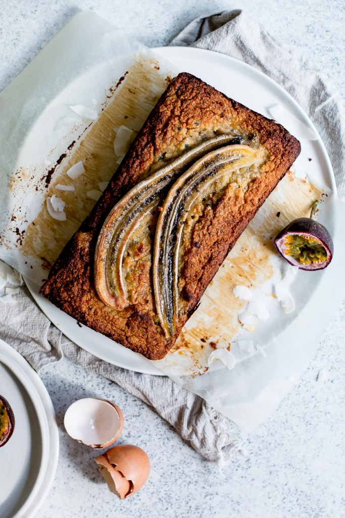 Healthier Banana, Passionfruit & Coconut Loaf