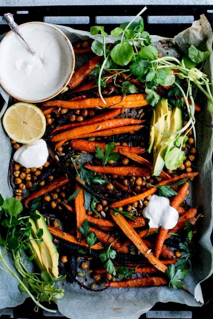 Roast Carrot, Chickpea & Avocado Salad with Cumin Honey Yogurt - The Brick Kitchen