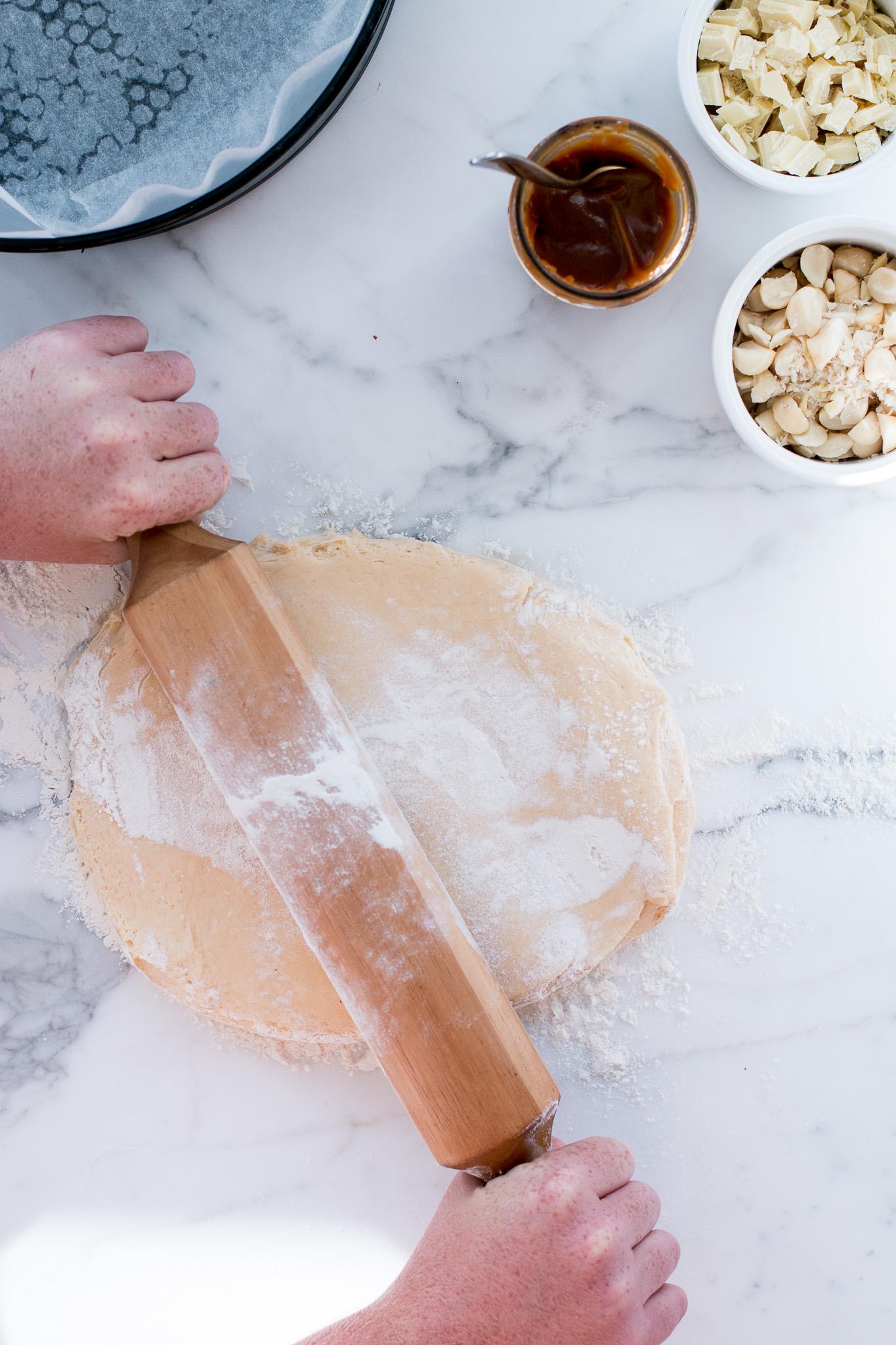 Salted Coffee Caramel, Macadamia & White Chocolate Brioche Scrolls - The Brick Kitchen