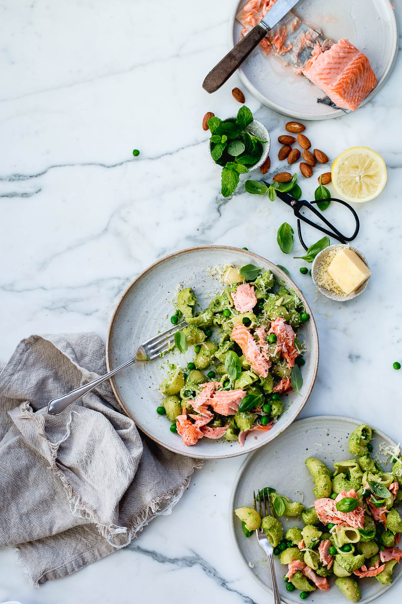 Pea, Mint and Poached Salmon Pesto Pasta - The Brick Kitchen