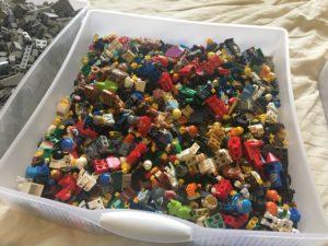 Sterilite drawer full of minifigures
