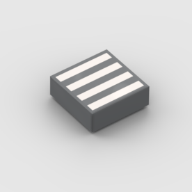 LEGO Part Light Bluish Grey Tile 1 x 1 with Groove with 4 White Stripes Pattern