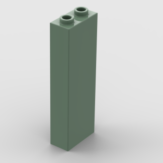 LEGO Part Sand Green Brick 1 x 2 x 5 - Blocked Open Studs or Hollow Studs
