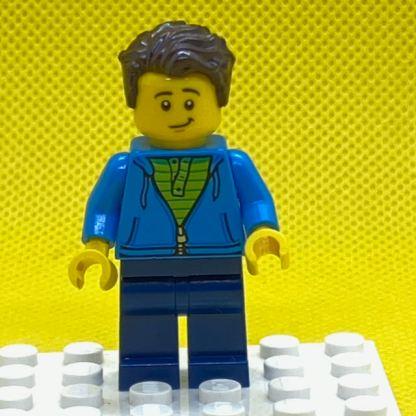 LEGO Man, Green Striped Shirt under Dark Blue Hoodie Minifigure