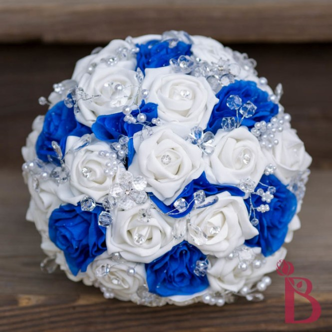 Monogram Royal Blue Silver Swirl Wedding Card