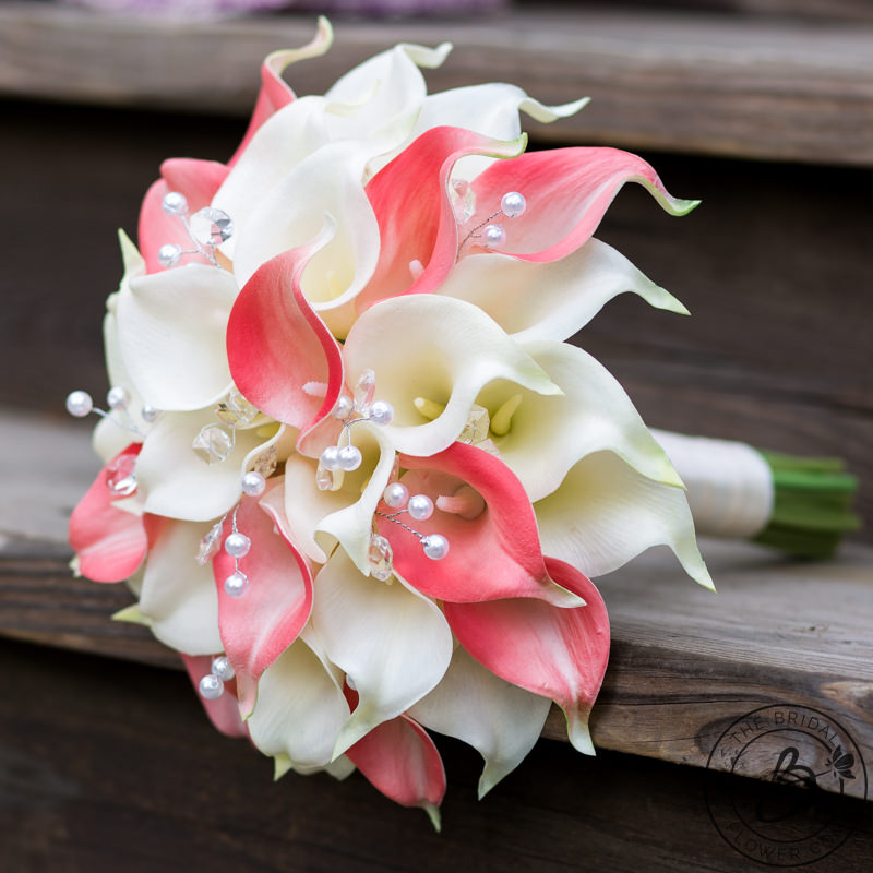 Coral And Ivory Calla Lily Bouquet With Crystals And Pearls The Bridal Flower Silk And Real