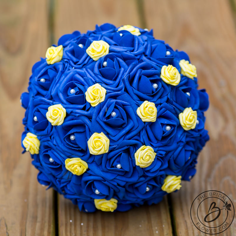 Blue And Yellow Beauty And The Beast Wedding Bouquet The