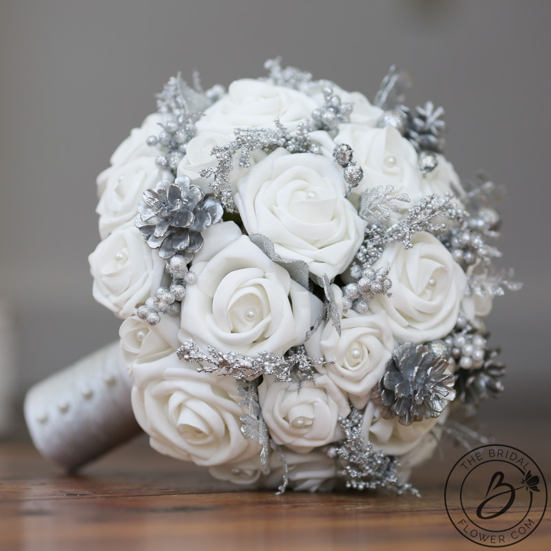 White And Silver Winter Wonderland Wedding Bouquet The