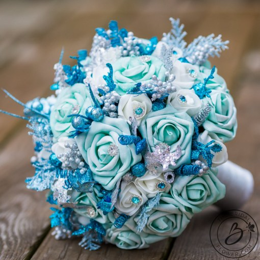 Frozen inspired teal and turquoise winter wedding bouquet     The     The Bridal Flower 7684