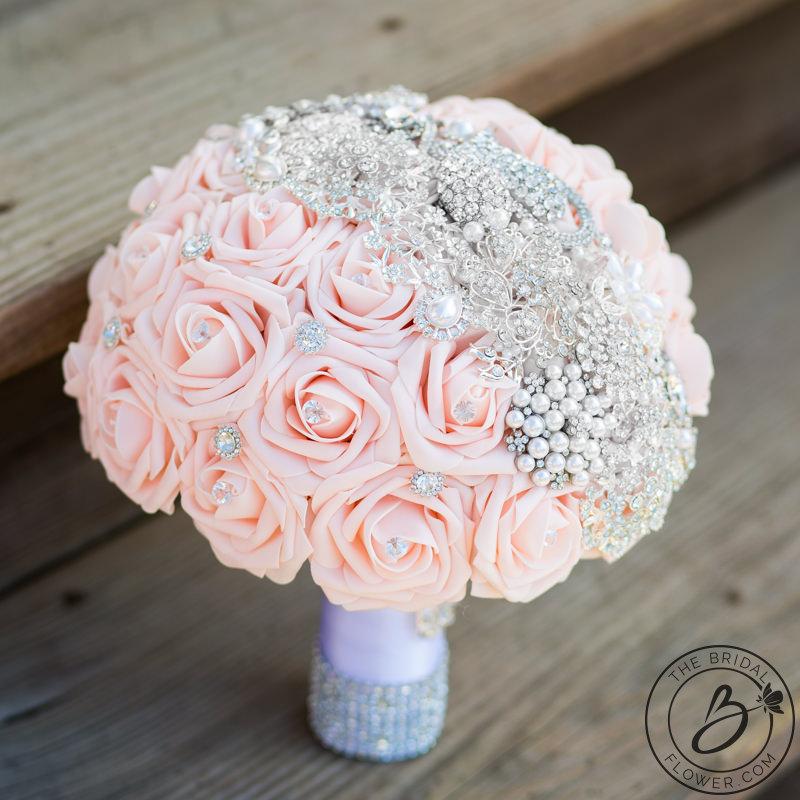 Blush Pink Brooch Wedding Bouquet With Gems The Bridal