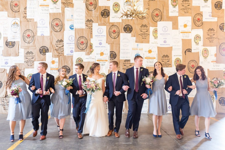 Bridal party walking photo