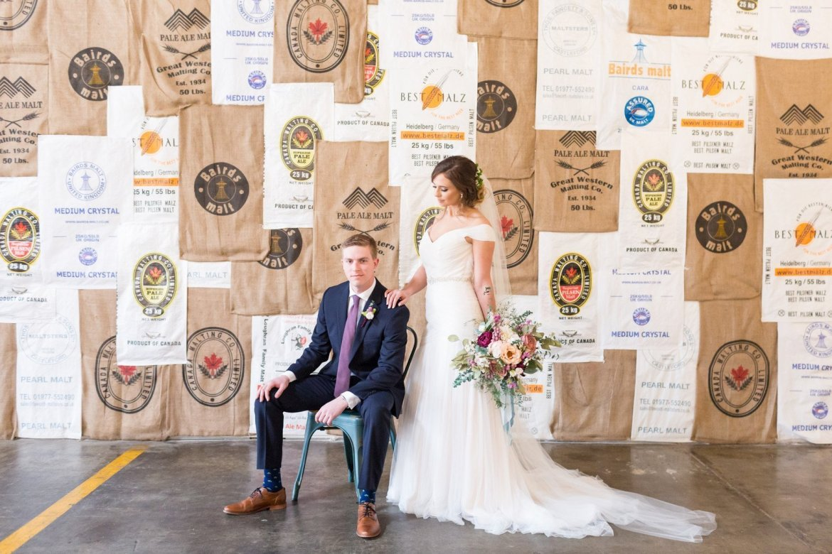 Bride and groom photos at brewery in Atlanta