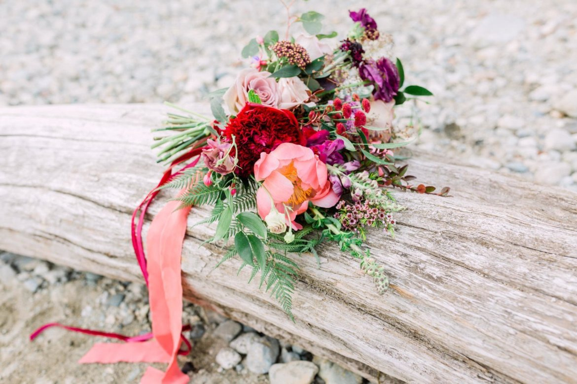 pink and red floral wedding bouquet