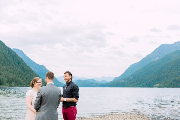couple eloping in Canadian mountains
