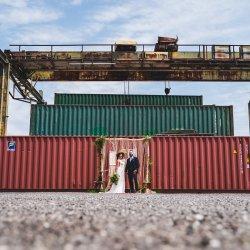 Boho elopement in industrial lot