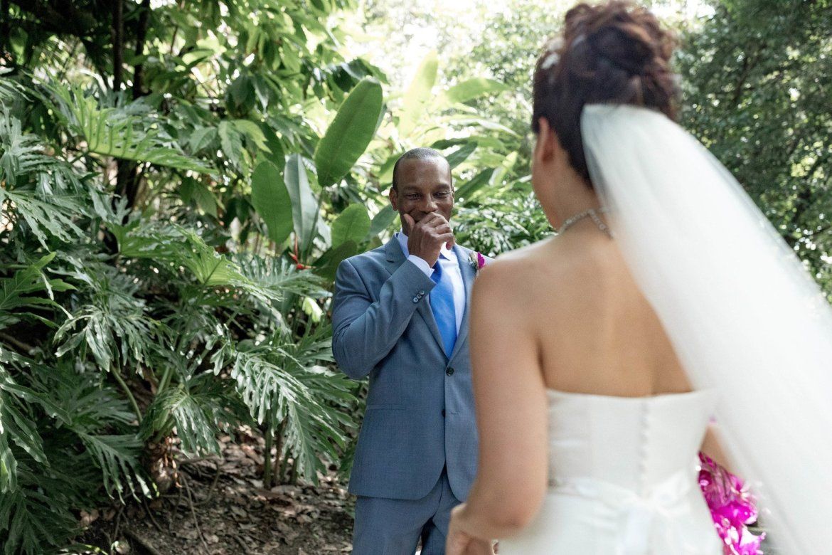 groom's reaction to first look at wedding