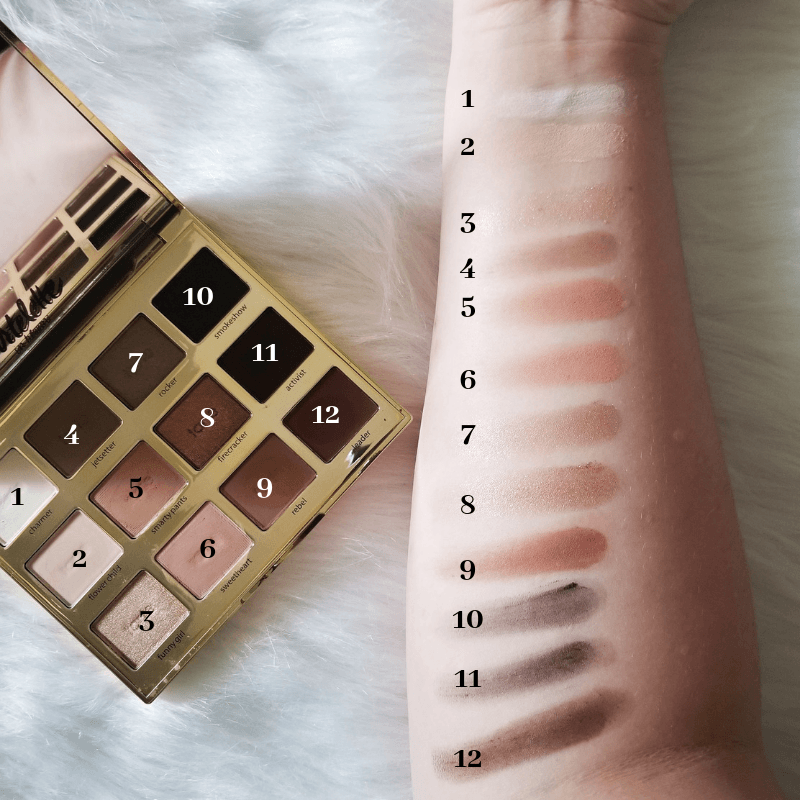 Swatches of the Tartelette In Bloom Palette