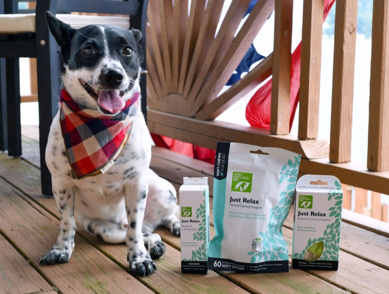 """If you know Henry, you know that he's an anxious pup. Subway rides, loud noises, and other dogs can send him into a barky, reactive anxiety tizzy. We've loved Only Natural Pet products for a long time, so I knew I had to test their """"Just Relax"""" line: three natural calming aids for dogs. We put the Just Relax Calming Soft Chews, Just Relax Calming Spray, and Just Relax Calming Medallion to work for perhaps the toughest of all: fireworks on the lake!"""