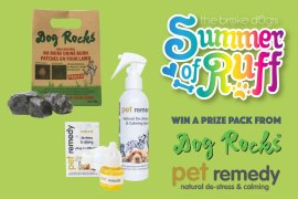 This week, we have a great prize pack from Podium Pet Products! Are you sick of urine spots on your lawn? Is your dog always stressed? This pack from Dog Rocks and Pet Remedy is for you!