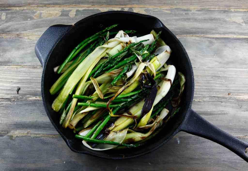 Blackened Leeks with Asparagus