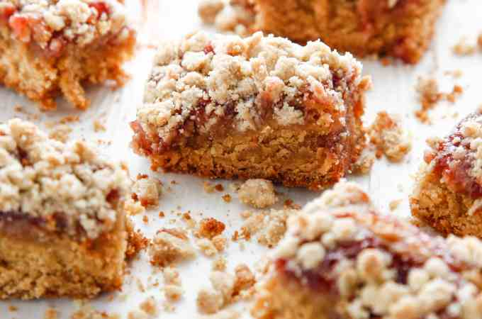 Peanut Butter and Jelly Crumble Bars