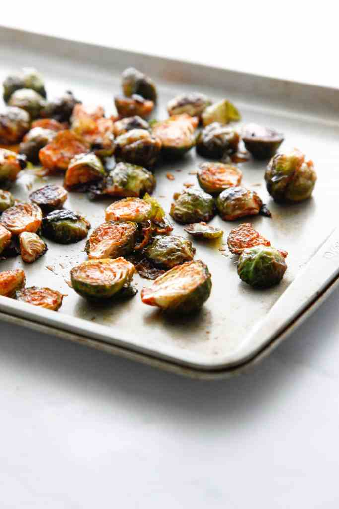 Honey Sriracha Roasted Brussels Sprouts