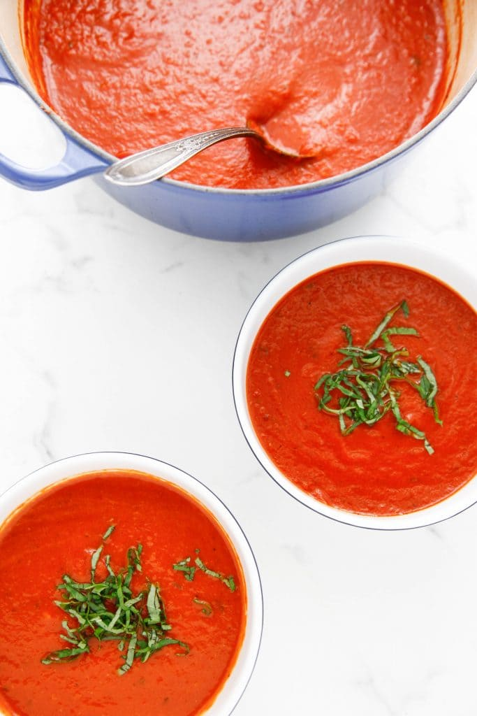 Dutch Oven Roasted Red Pepper and Tomato Soup