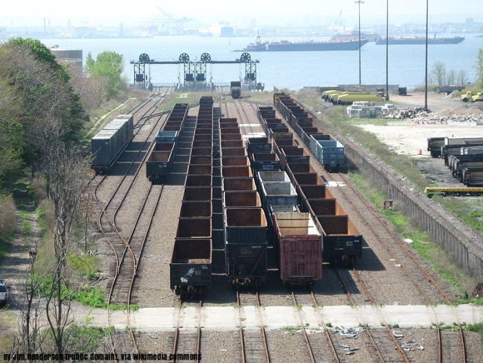 Freight cars at 65th Street Yard waiting to be loaded to barge
