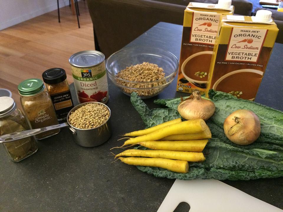 Slow Cooker Lentil, Barley, and Kale Soup
